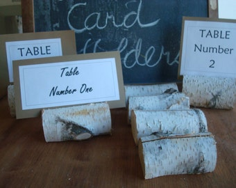 BIRCH LOG Card stands great for rustic wedding accents menu table numbers photos all natural organic