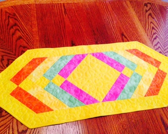 Quilted Table Runner Spring Easter Colors Yellow