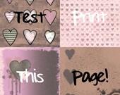 Mixed Media Hear - Four 12x12 Valentine Instant Download Digital Art Journal Scrapbook Sheets