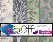 Branching Out - Four 12x12 Pattern Instant Download Digital Art Journal Scrapbook Sheets