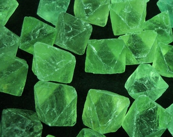 "3/4"" Green Fluorite octahedrons crystals natural gemstone rock stone mineral specimen"