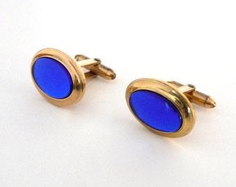 Vintage Blue Glass Krementz Cufflinks Marked Correct Quality 1940s from TreasuresOfGrace