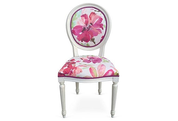 Pink lucite chair - Sale French Side Accent Chair Round Back Painted By