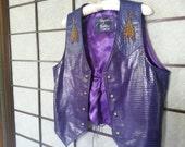 Purple Leather Beaded Vest M