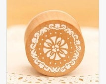 Round Rubber Stamp - Wood Lace pattern rubber stamp, Korea stationery Diary Stamp Wood stamp Scrapbook supplies  30x25mm