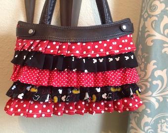 Custom made ruffled Skirt purse cover mickey inspired design cover handmade thirty one