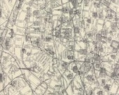 Passport by 3 Sisters for Moda - Novelty Paris Map - Grey - Parchment - 1/2 yard cotton quilt fabric 516