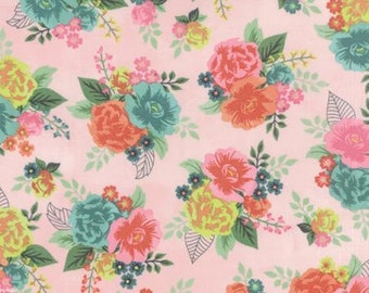 Basicgrey Fresh Cut for Moda - Floral Gardenia Row - Pink - Pink Flambe - 1/2 yard cotton quilt fabric 516