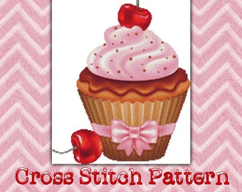 Cross Stitch Pattern Cherry Cupcake StitchX Cross Stitch Design Beautiful Graph Instant Download pdf