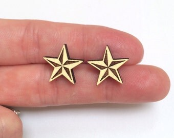 Wood laser cut earrings studs - large pastel yellow stars
