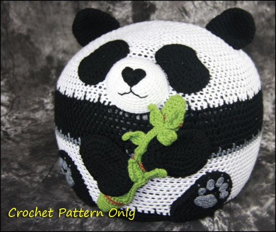 Crochet Beach Bag Pattern : Panda Bean Bag Chair Ottoman Pouf CROCHET PATTERN