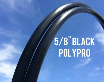 "15% off SALE - Black 5/8"" POLYPRO Dance & Exercise Hula Hoop COLLAPSIBLE push button - midnight masculine"