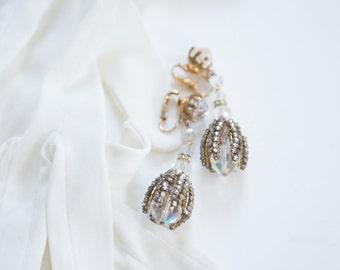 Dangle Earrings - 50's Tear Drop Clip-On's. // Rhinestone, Auror Borealis.