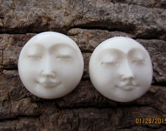 LOWEST PRICE   Excellent Pair 25mm face cabochon, Moon cabochon, Carved moon face, Embellishment, Jewelry making Supplies S4698