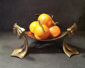 Vintage Bronze Pedestal Fruit Dish .French Fruit Bowl .Art Deco. Centerpiece