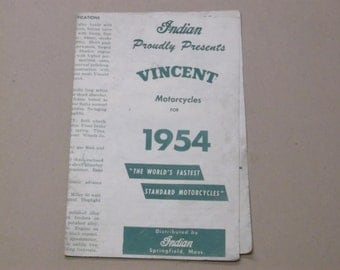 1954 Indian Motorcycle Sales Brochure, The Vincent