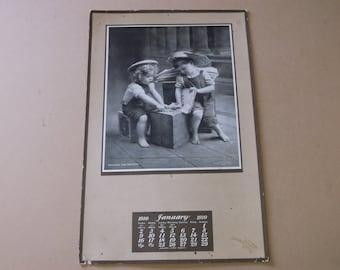 "Vintage January 1910 Art Calendar Poster, ""Dividing The Profits"""