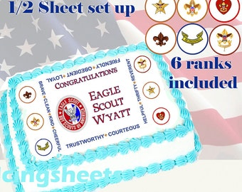 Eagle Scout Boy Scout ranks Edible icing custom cake transfer decal  decorations frosting top 1/2 sheet set up 4