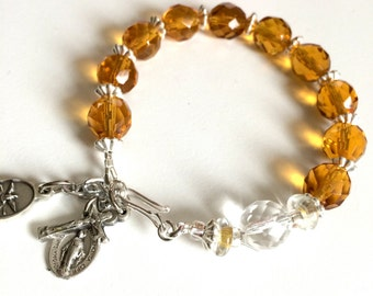 Rosary Bracelet Holy Spirit and Miraculous Medal Sterling Silver  Honey Yellow