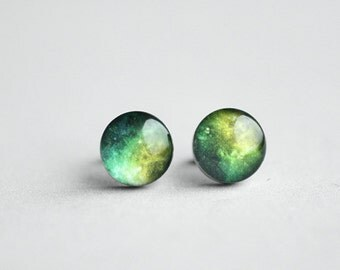 Space earring studs, Surgical steel post, Stardust earring post, Galaxy post earring, Tiny earring studs, Universe earrings, green nebla
