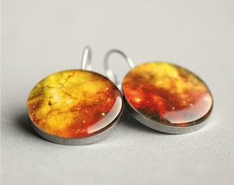 Space earrings, dangle earrings, Stardust, Nebula, Universe, French clip earring, Leverback earring, for her