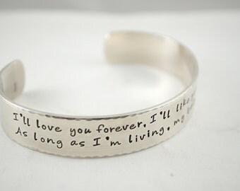 Keepsake Sterling I'll Love You Forever Custom Two Sided Secret Message Hand Stamped Bracelet