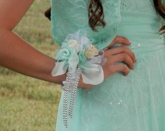 IVORY PRESERVED ROSE, Wrist  Corsage, Satin Stretch Wrist Bracelet, Wedding Corsage, Prom, Quinceanera, Bridesmaid Corsages