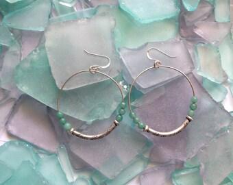925 Sterling Silver and Jade Hoops