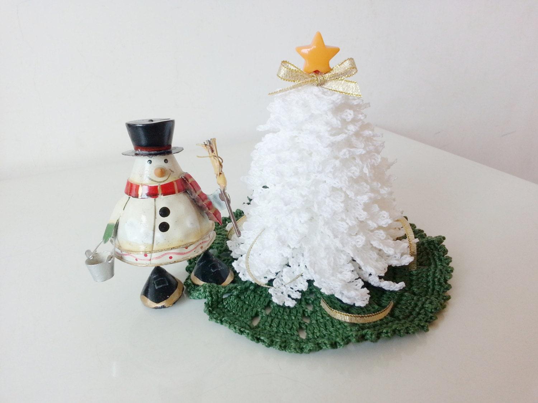 Miniature Dollhouse Tree White Crochet Christmas Decorations