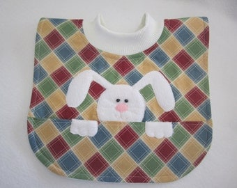 Baby bib gender neutral Bunny theme pullover style fleece backing RTS