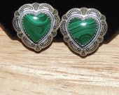 Q. T. Quoc Sterling and Malachite Earrings