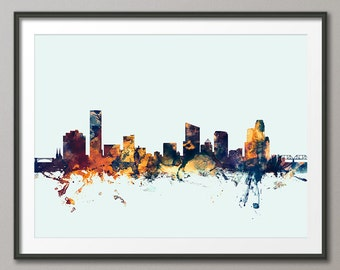 Grand Rapids Skyline, Grand Rapids Michigan Cityscape Art Print (1852)