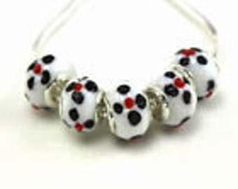 2 Murano Lampwork Glass Beads European Bracelet  - ec076