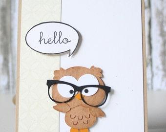 Hello, Owl Card, Cute Geek Owl Card, Hello Owl Card