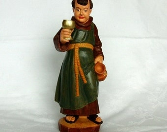 UNUQUE GERMAN HANDMADE, Carved Wooden Monk Figure