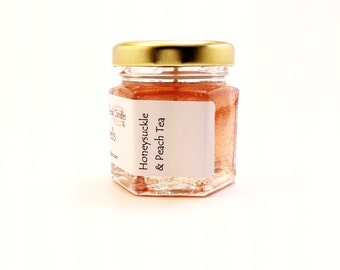 Candle Scented Mini Jar Glitter Gel Honeysuckle Peach Tea Summer Bridal Shower Prizes Rustic Wedding Favor Tea Party Decoration Hostess Gift