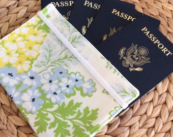 LAST ONE Family Passport Holder, Holds 4 Passports, READY to Ship June 5th Designer Fabric, International Travel, Unique Gift for Traveler