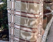 man's sarong light tan and cream with orange edging cheque design MA3