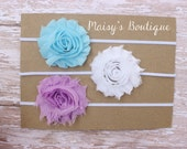 Set of 3- Sky Blue, White and Pink Lavender Flower Headband Set/ Headband/ Newborn Headband/ Baby Headband/ Wedding/ Photo Prop