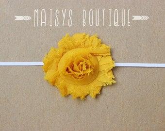 75% Off- Mustard Yellow Shabby Flower Headband/ Newborn Headband/ Baby Headband/ Photo Prop