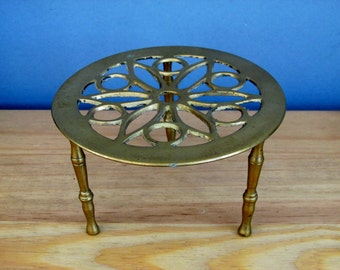 Brass Fireside Trivet Vintage 1950s Log Fire Circle Shape