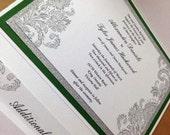Elegant Damask and Glitter Pocketfold Wedding Invitation with No-Transfer Glitter Backing. Fully Customizable!