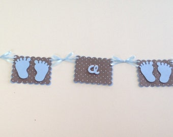 It's a Boy - BLUE BABY FEET Banner - Baby Boy/New Baby - Baby Shower- Wall Decorations - Blue and Brown