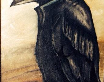 Folk Art Crow matted print