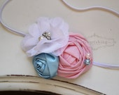Pink and Blue Rosette headband, pink flower headbands, blue headbands, baby headbands, newborn headbands, photography prop