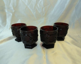 Deep ruby red cups, set of four