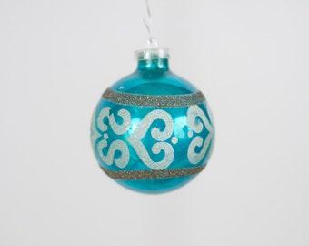 Vintage Christmas Ornament  Glass Round Christmas Ornament 138