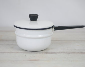 Vintage Enamelware Double Boiler Top Pot And Lid White And Black