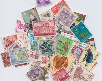 ON SALE 50 Vintage and Antique Stamps Grab Bag – International Stamps – all Different – early 1900s onward