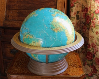 HUGE Cram's Globe- 16 inch school size with removable stand- Physical- Political, Convertible Stand